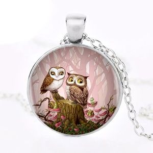 Jewelry - Adorable Owl Love Pendant Silver Tone Chain